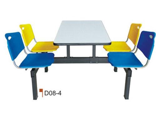 四人连体餐桌椅