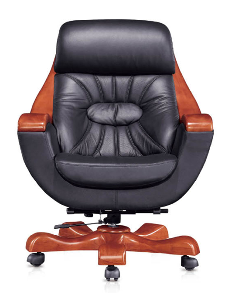 高端豪华总裁总经理进口牛皮大班椅 型号:8191 意大利进口牛皮 椅板:采用多层薄木皮热压成型,厚度12mm,可以承受压力300kg以上,含水率6~14%,胶合强度强,不易变形,开裂。 面料:意大利黑色头层牛皮,厚度1.3-1.5mm,无疤痕、胫裂、针孔、皱折及异味,颜色均匀摩擦牢固系>4.